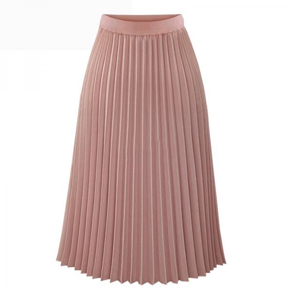 Fashion Spring Summer Long Chiffon Pleated Skirt Women Solid Elastic Waist Skirts Casual Skirt 19 Black White S M L XL