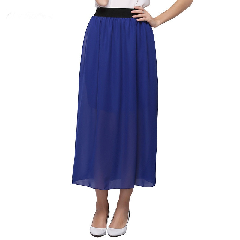 17 Women Casual Candy Colors Chiffon Tulle Skirts Fshion Sexy Elastic High Wasit Summer Long Skirts Ladies Maxi Skirt Saia 1