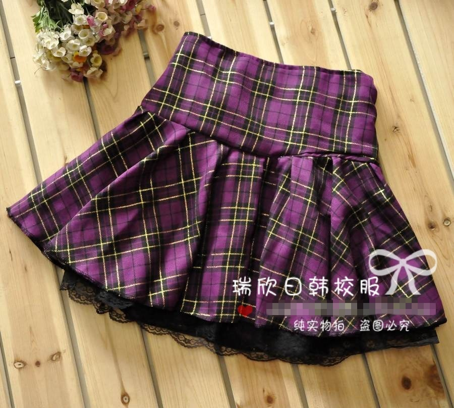 7 Colors Size S-XXXL Plus size High quality Preppy style students plaid mini skirts school uniform skirts girls lace skirts 2