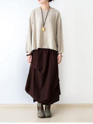 18 Women Skirts Saias Femininas Plus Size Linen Skirts Pleated Pockets Casual Maxi Long Skirts Women Irregular Loose Buttom
