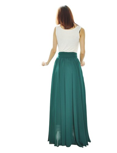 WBCTW Maxi Long Beach Skirts XXS-10XL Plus Size Elegant Woman Pleated Skirt Solid Autumn Spring 18 Chiffon High Waist Skirt 2
