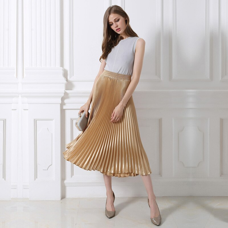 High-quality plus size European /American fashion women chiffon Fold long skirt high waist solid a-line lolita skirts womens 2