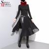 19 Korean Style Women Solid Black Pleated Chiffon Skirt Leather Belt High Waist Split Ladies Unique Midi Sexy Party Skirts 876