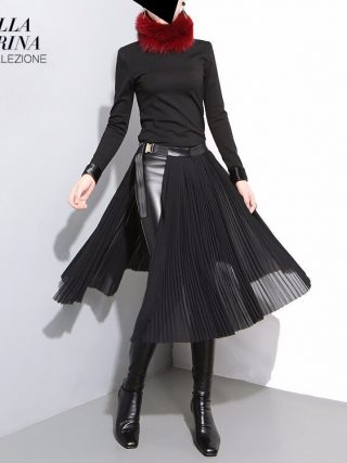 19 Korean Style Women Solid Black Pleated Chiffon Skirt Leather Belt High Waist Split Ladies Unique Midi Sexy Party Skirts 876