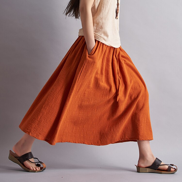 18 Fashion Brand Women Linen Cotton Long Skirts Elastic Waist Pleated Maxi Skirts Beach Boho Vintage Summer Skirts Faldas Saia 1