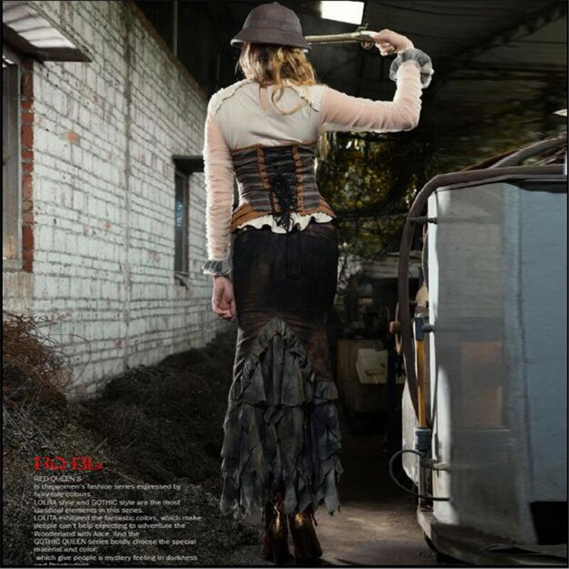 Steampunk Mermaid Asymmetrical Layered Long Skirt SP127 2