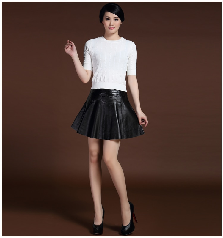 Svadilfari New 17 Female Mini Short Women 100% High Quality Genuine Leather Skirt Low waist Solid Pleated Flared Skirts Black 1