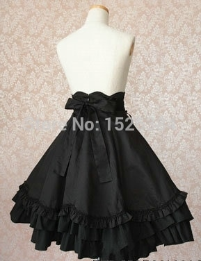 High Quality Girls Women Cotton Empire Waist Gothic Lolita Skirt With Bow-knot Ornament Women Cosplay Costume 2