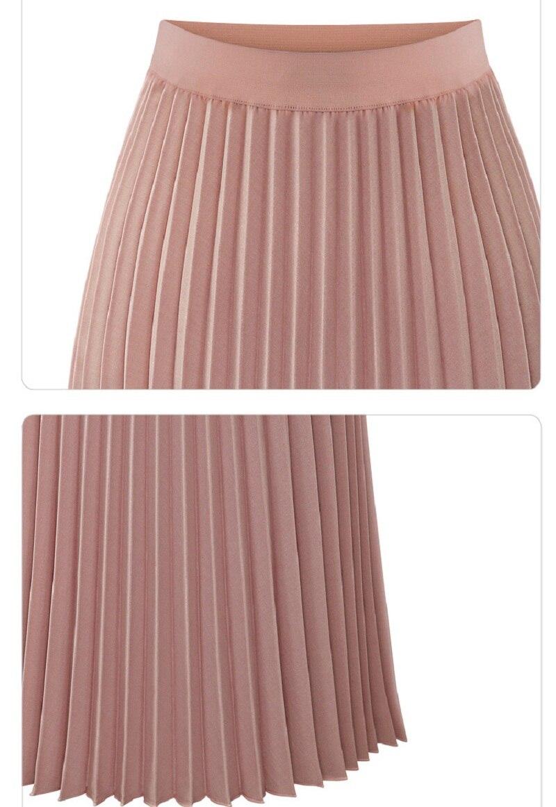 Hchenli women Pleated Skirts Pink Long Fashion Skirt High Waist Elegant Ladies Cotton Linen Spring Autumn Summer Clothes 2