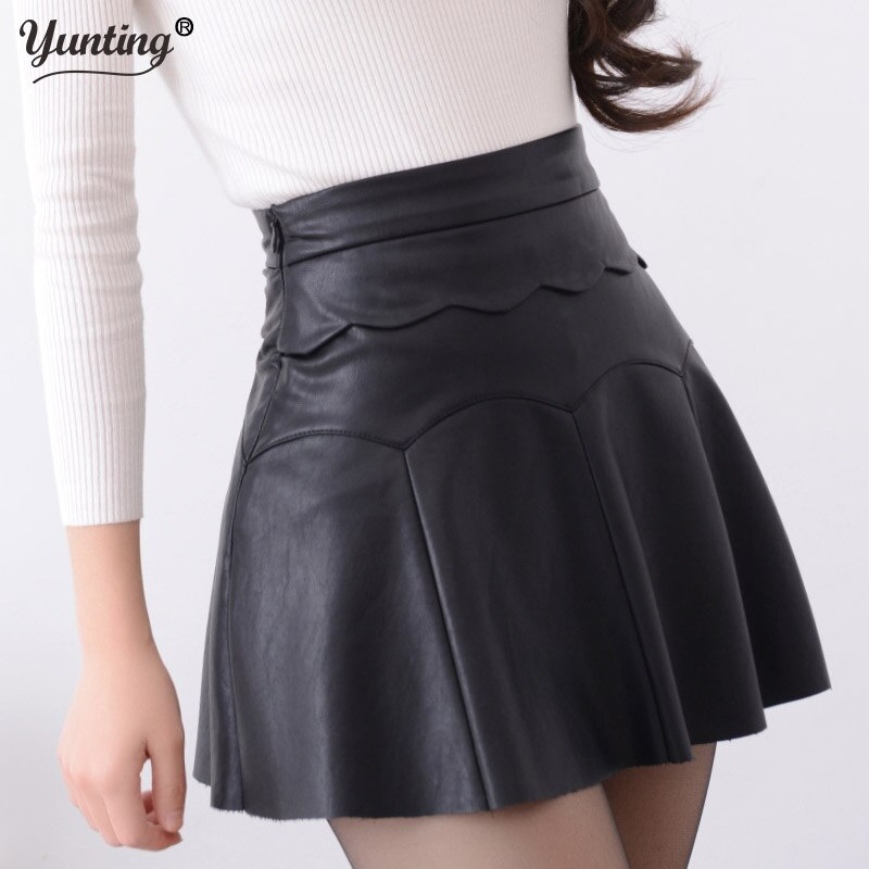 New 19 Russia Fashion Black Red high quality leather Skirt Women Vintage High Waist Pleated Skirt Female Short Skirts