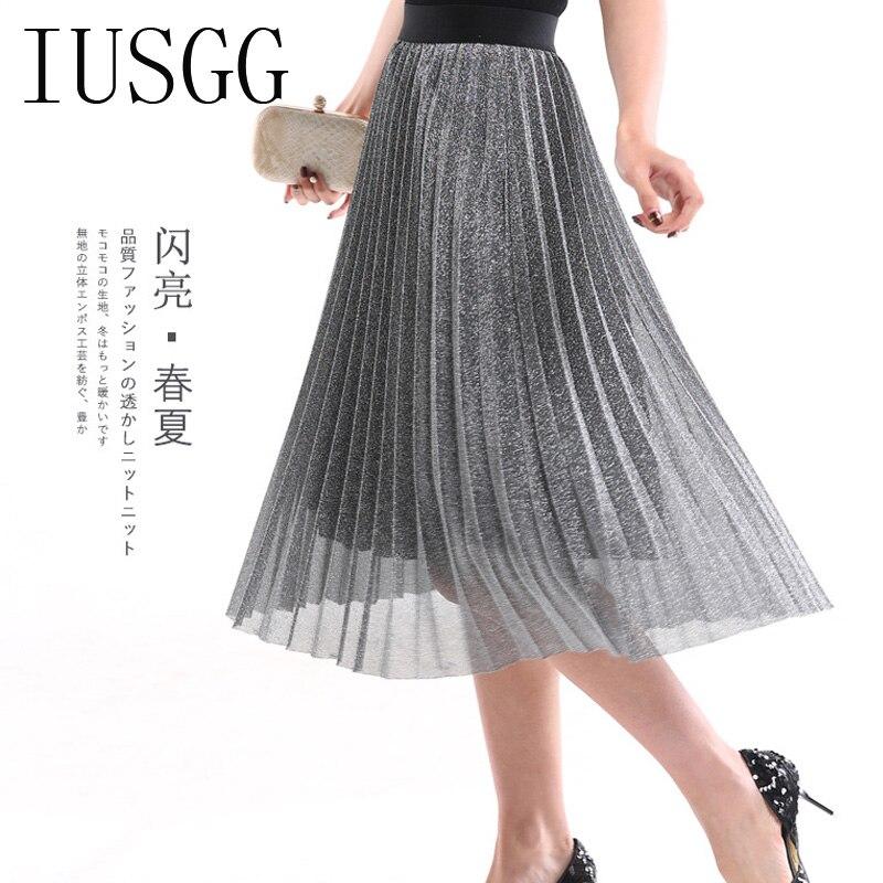 IUSGG  Metal Color Silk Skirt Retro Fashion Metal Bright Silk Skirt Women Pleated Midi Skirt Big Swing Pleated Skirt