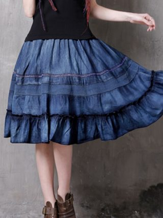 17 Hollow Out Patchwork Elastic High Waist Skirts Women Vintage Ruffles Denim Skirt #170346