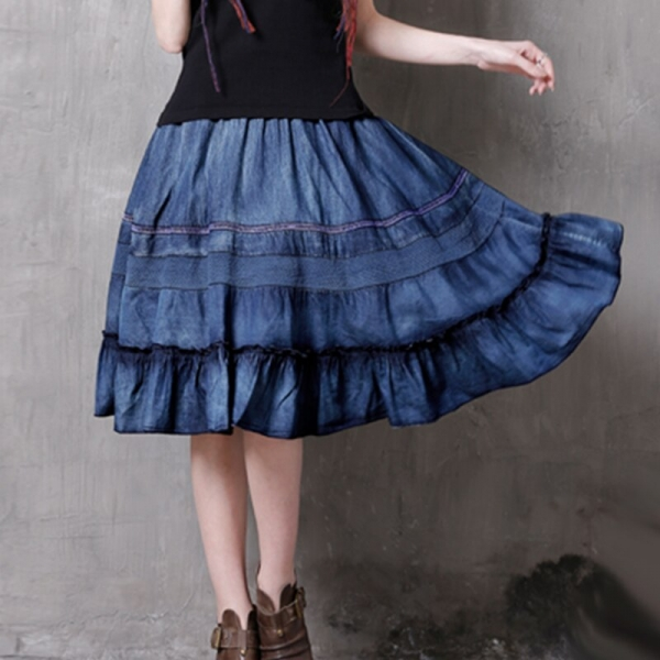 17 Hollow Out Patchwork Elastic High Waist Skirts Women Vintage Ruffles Denim Skirt #170346