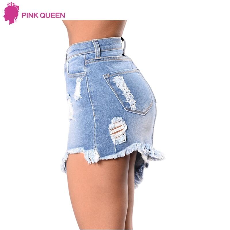 Pink Queen Women's Denim Skirt Summer Elegant Split Saia Torn Jeans Slim Mini Skirt Ripped Hole Saia Longa Denim Skirts Fashion 2
