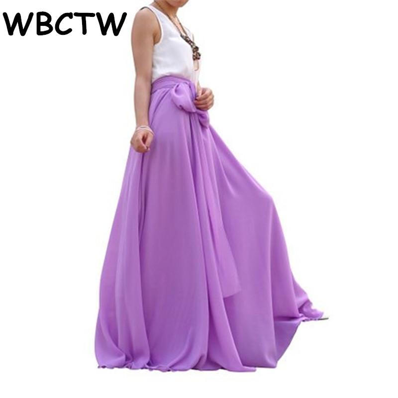 WBCTW Maxi Long Beach Skirts XXS-10XL Plus Size Elegant Woman Pleated Skirt Solid Autumn Spring 18 Chiffon High Waist Skirt
