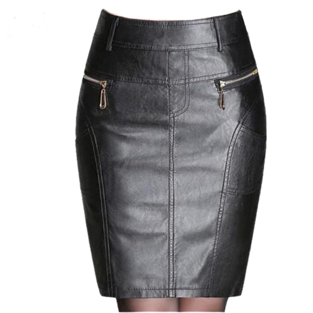 Autumn Winter Zipper Women's Leather Skirts Slim High Waist Sexy Leather Skirt Plus Size Black Women Sexy Pencil Skirt 4XL 5XL