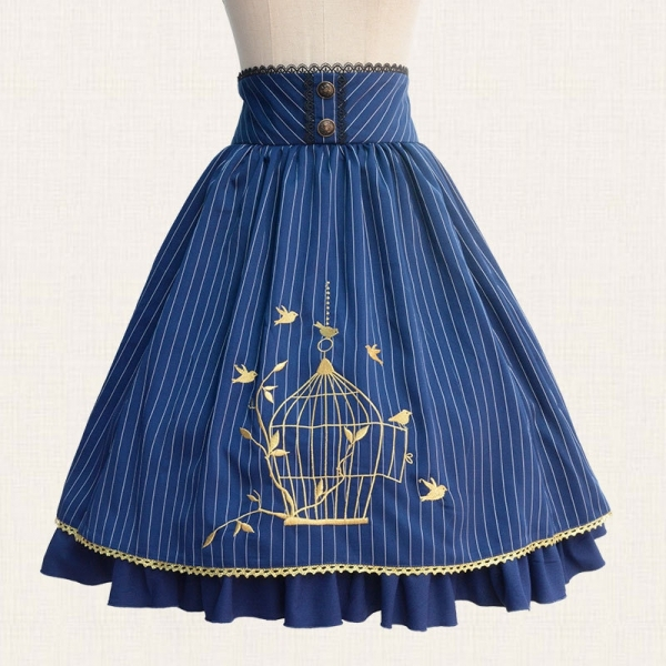 19 Fall Classic Lolita Skirt Vintage Style Striped A Line Skirt with Cage Embroidery