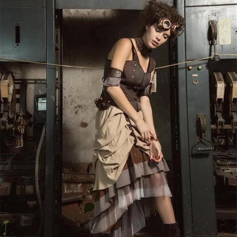 Vintage Victoian Bustle Steampunk Brown Skirt Asymmetrical High Low Skirt SP169 2