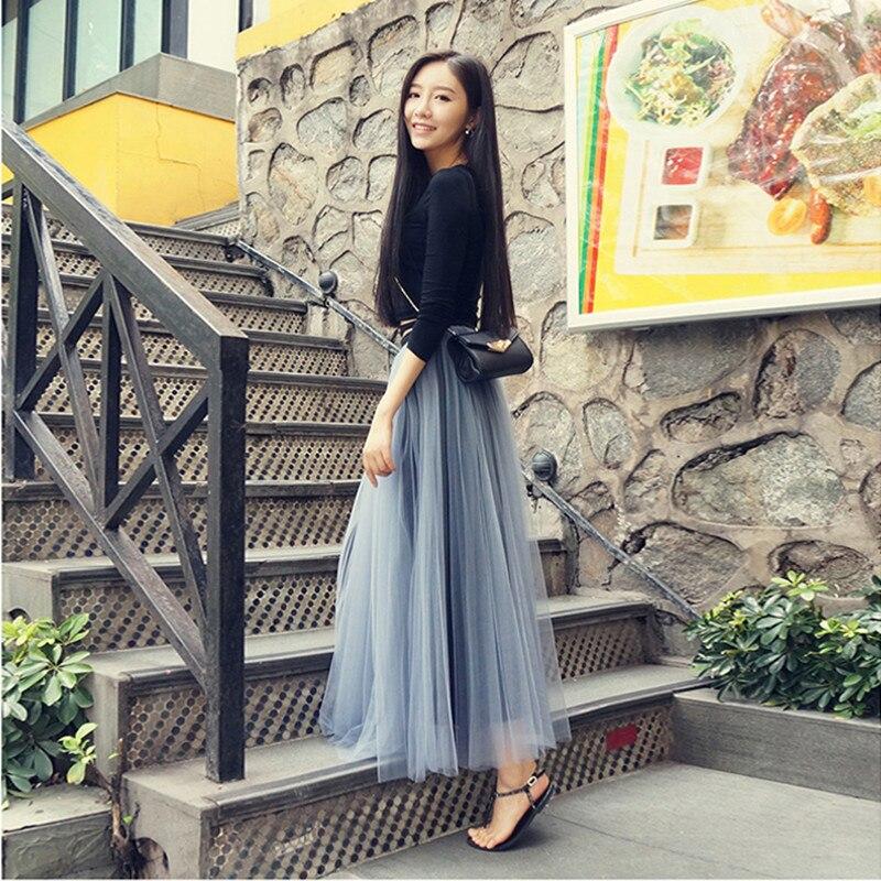 Uwback Long Tulle Skirt 17 New Spring Women Maxi Skirt Women High Waist Pleated Gray Jupe Tulle Femme TB1437