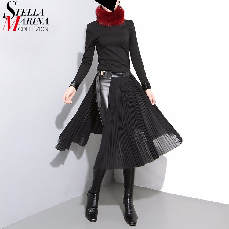 19 Korean Style Women Solid Black Pleated Chiffon Skirt Leather Belt High Waist Split Ladies Unique Midi Sexy Party Skirts 876 1