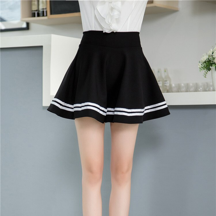 White stripe black high waisted pleated mini puff skirts for women ladies girls casual preppy style circle swing skater skirts 2