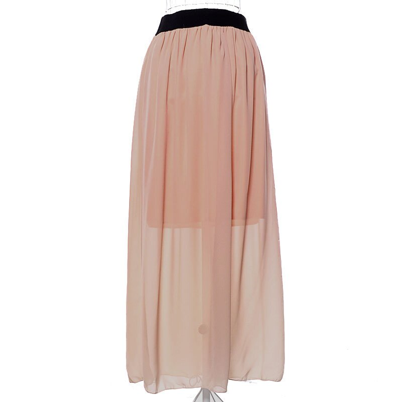 17 Women Casual Candy Colors Chiffon Tulle Skirts Fshion Sexy Elastic High Wasit Summer Long Skirts Ladies Maxi Skirt Saia 2