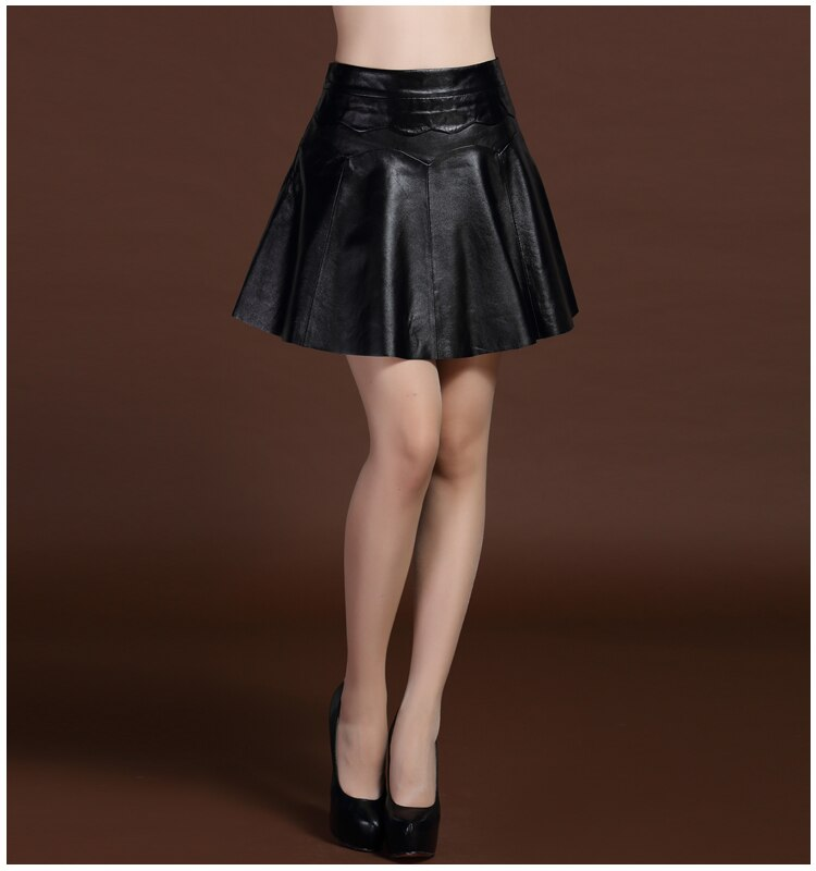 Svadilfari New 17 Female Mini Short Women 100% High Quality Genuine Leather Skirt Low waist Solid Pleated Flared Skirts Black 2