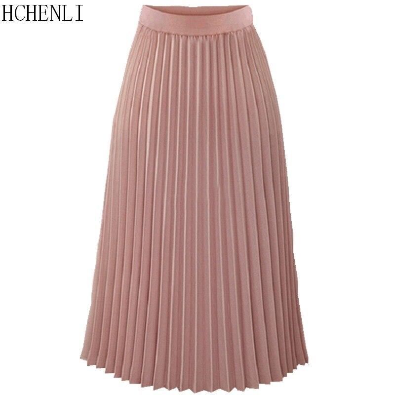 Hchenli women Pleated Skirts Pink Long Fashion Skirt High Waist Elegant Ladies Cotton Linen Spring Autumn Summer Clothes 1