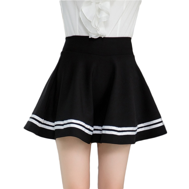 White stripe black high waisted pleated mini puff skirts for women ladies girls casual preppy style circle swing skater skirts 1