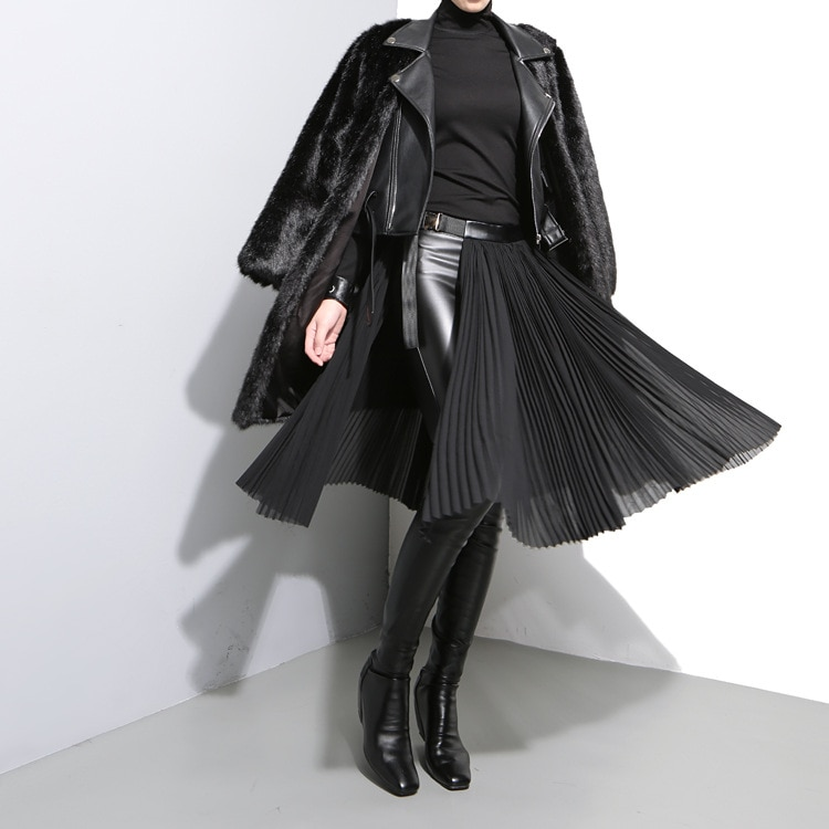 19 Korean Style Women Solid Black Pleated Chiffon Skirt Leather Belt High Waist Split Ladies Unique Midi Sexy Party Skirts 876 2
