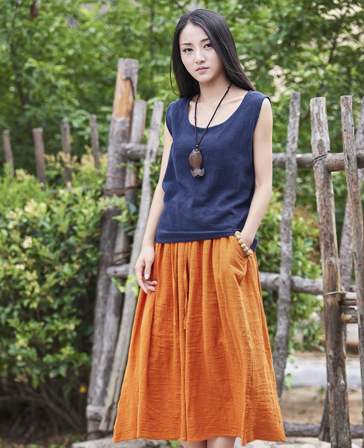 18 Fashion Brand Women Linen Cotton Long Skirts Elastic Waist Pleated Maxi Skirts Beach Boho Vintage Summer Skirts Faldas Saia 2