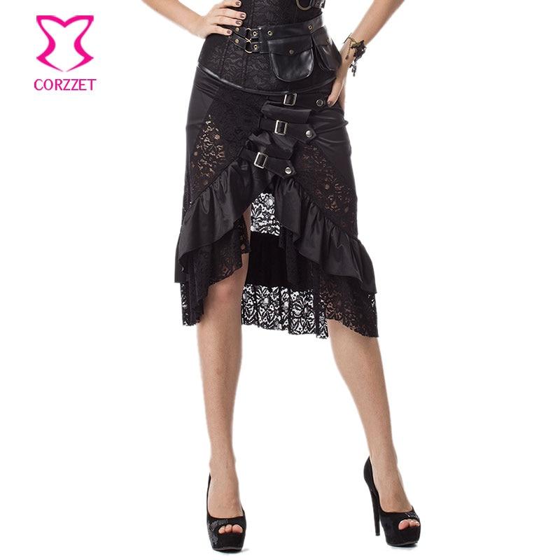 6XL Black Floral Lace & Satin Ruffles Gothic Victorian Skirt Steampunk Skirts Plus Size Women Matching Burlesque Corset Bustier 1