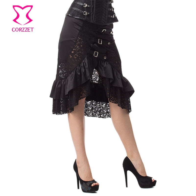 6XL Black Floral Lace & Satin Ruffles Gothic Victorian Skirt Steampunk Skirts Plus Size Women Matching Burlesque Corset Bustier 2