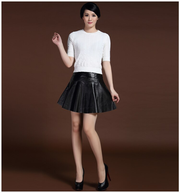 Svadilfari New 17 Female Mini Short Women 100% High Quality Genuine Leather Skirt Low waist Solid Pleated Flared Skirts Black