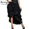 Burvogue Women Satin Fashion Skirt Irregular Long Gothic Skirt Steampunk Lace-up Maxi Ruffled Black Corset Skirts for womens