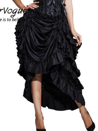 Burvogue Women Satin Fashion Skirt Irregular Long Gothic Skirt Steampunk Lace-up Maxi Ruffled Black Corset Skirts for womens