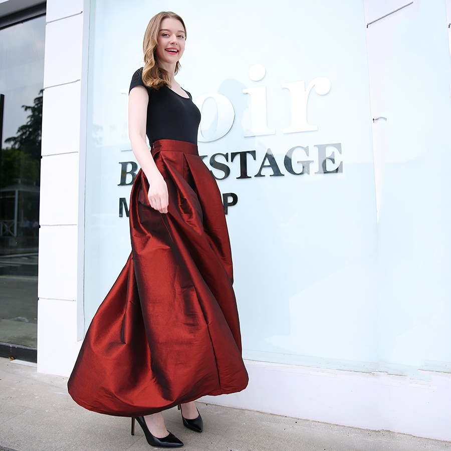 Fashion Long Skirts Women Faldas High Waist Pleated Womans Floor Length Skirt Plus Size Elastic Elegant Ladies Jupe Skirts 2