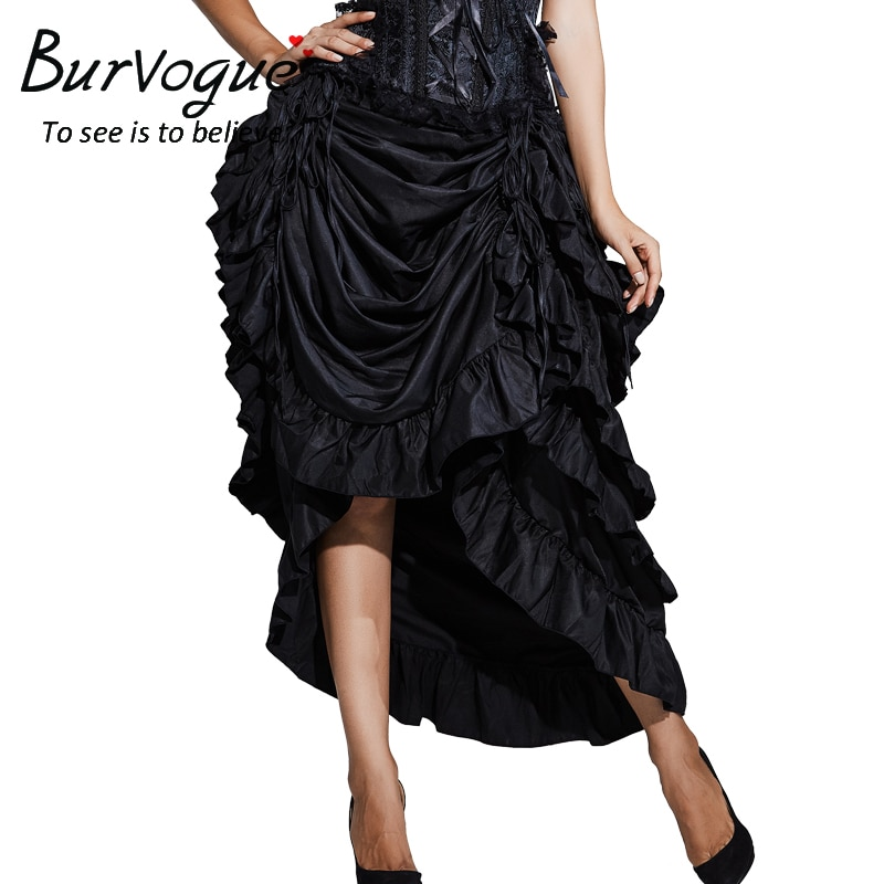 Burvogue Women Satin Fashion Skirt Irregular Long Gothic Skirt Steampunk Lace-up Maxi Ruffled Black Corset Skirts for womens 1