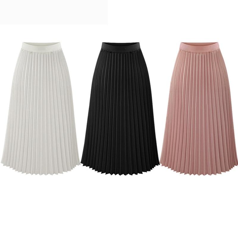 Fashion Spring Summer Long Chiffon Pleated Skirt Women Solid Elastic Waist Skirts Casual Skirt 19 Black White S M L XL 2