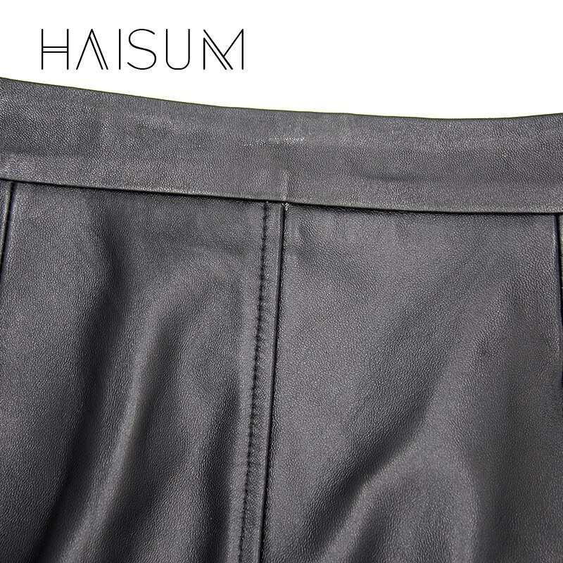 18 Sale Hot Sale None Haisum Women Plus Size Leather Skirt Genuine Knee-length Skirts Solid Sheepskin Lady Straight For Le0 2
