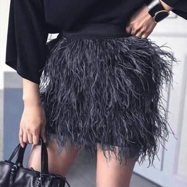 Top Fashion Wome Streatwear Style Slim Elastic Waist Solid Color Black/Green/Pink All-match Feather Luxury Casual Skirt