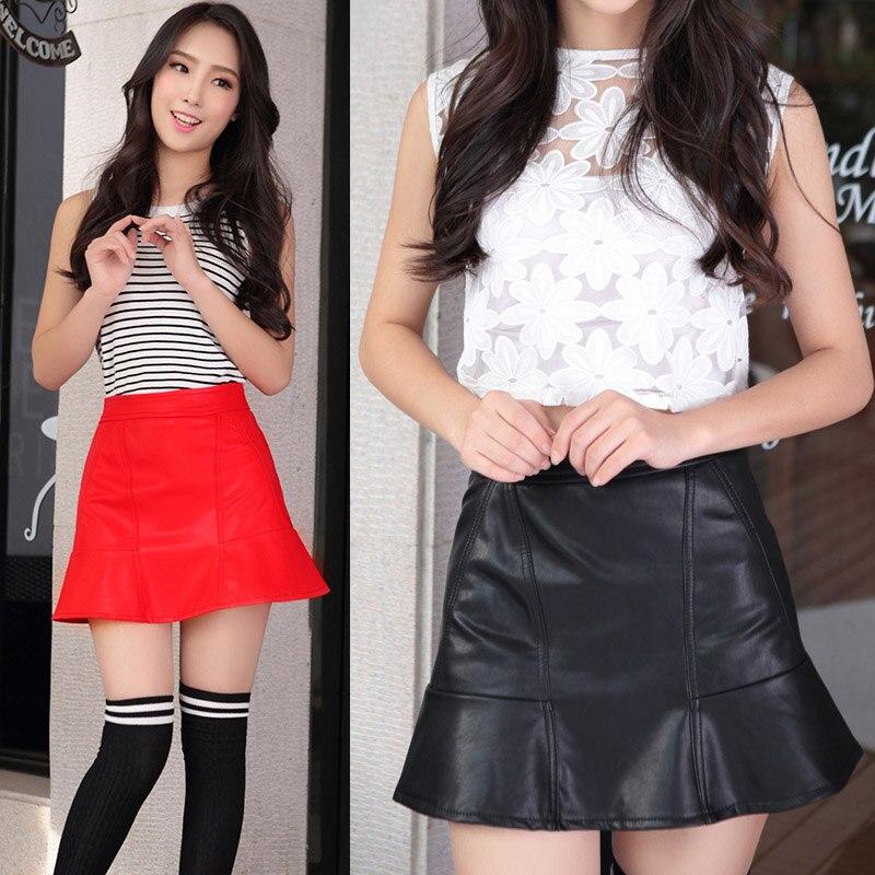 Women 19 Black Red High Waist Bodycon PU Leather Casual Autumn Winter Split Front Slim Pencil Sexy Mini Skirt saias femininas 2