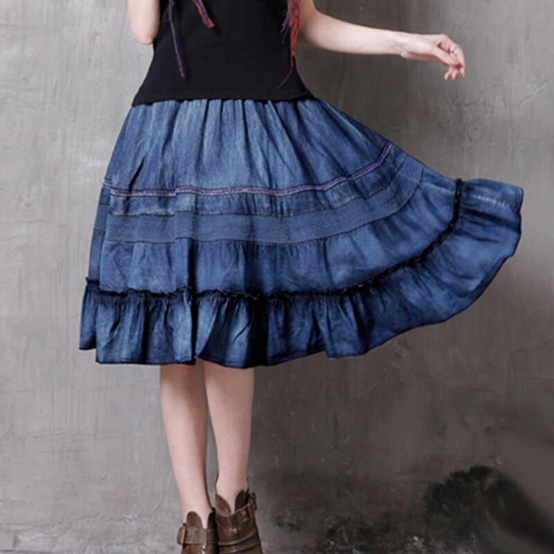 17 Hollow Out Patchwork Elastic High Waist Skirts Women Vintage Ruffles Denim Skirt #170346 1