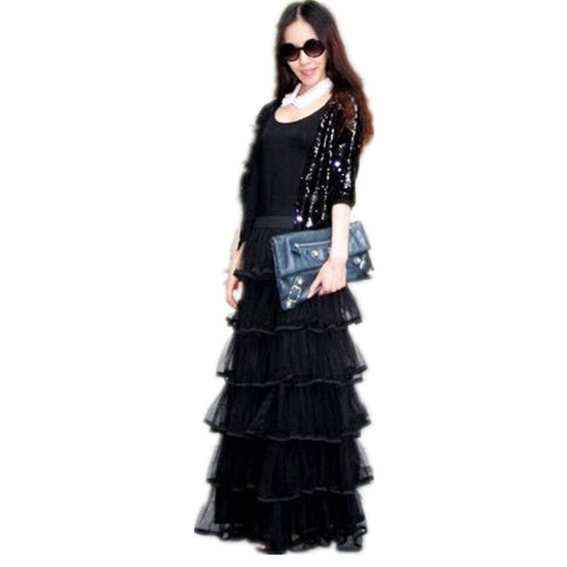 Free Shipping New Arrival Of Spring 18 Long Tulle Layered Skirts Ruffles Maxi Skirts For Women Black And White Waisted Skirts 2