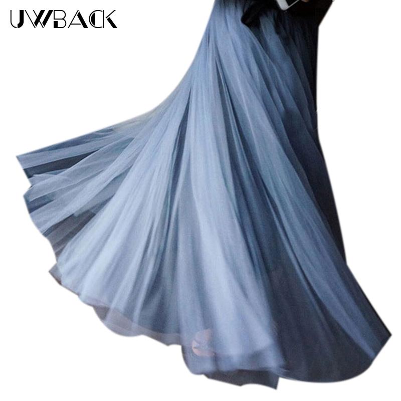 Uwback Long Tulle Skirt 17 New Spring Women Maxi Skirt Women High Waist Pleated Gray Jupe Tulle Femme TB1437 2