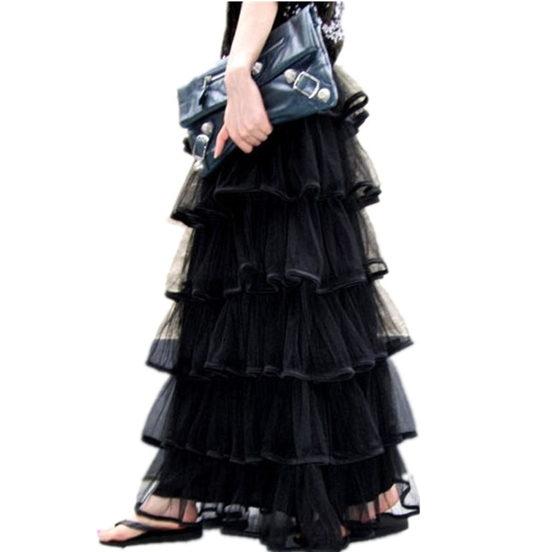Free Shipping New Arrival Of Spring 18 Long Tulle Layered Skirts Ruffles Maxi Skirts For Women Black And White Waisted Skirts 1