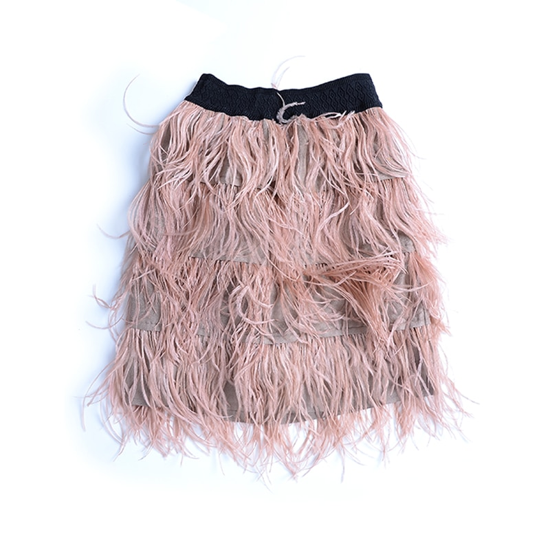 Top Fashion Wome Streatwear Style Slim Elastic Waist Solid Color Black/Green/Pink All-match Feather Luxury Casual Skirt 2