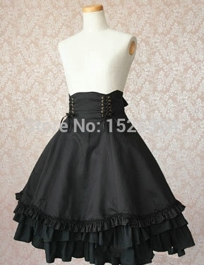 High Quality Girls Women Cotton Empire Waist Gothic Lolita Skirt With Bow-knot Ornament Women Cosplay Costume 1