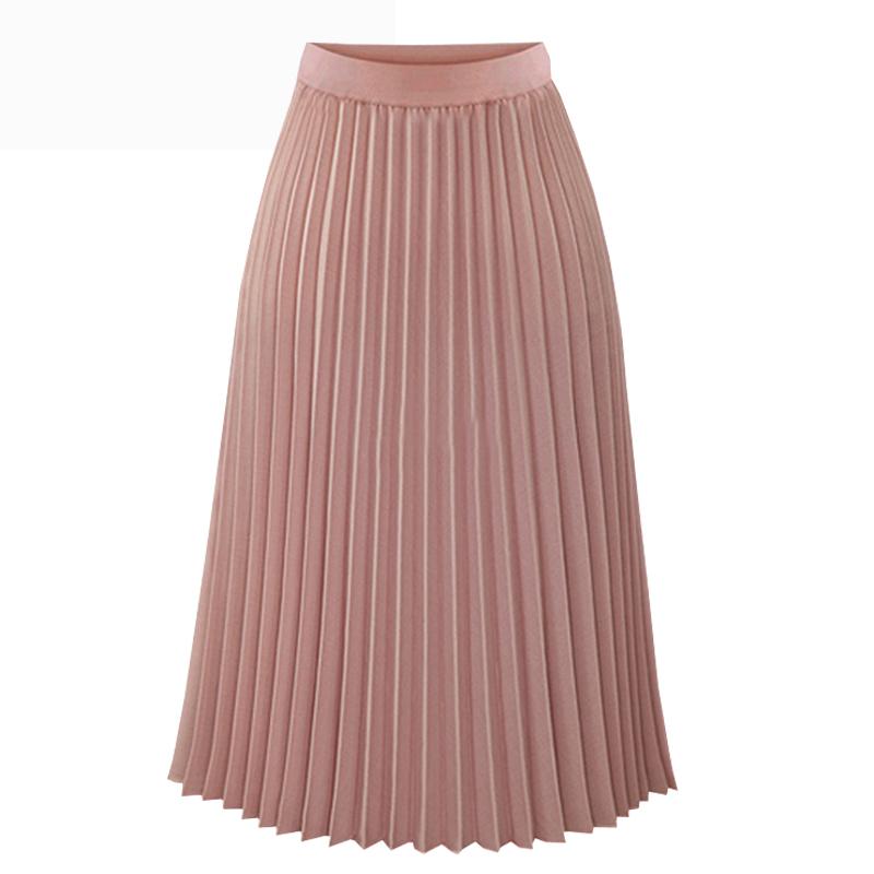 Fashion Spring Summer Long Chiffon Pleated Skirt Women Solid Elastic Waist Skirts Casual Skirt 19 Black White S M L XL 1
