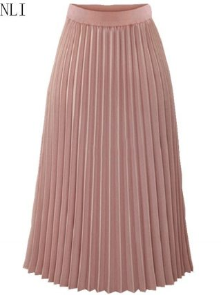 Hchenli women Pleated Skirts Pink Long Fashion Skirt High Waist Elegant Ladies Cotton Linen Spring Autumn Summer Clothes